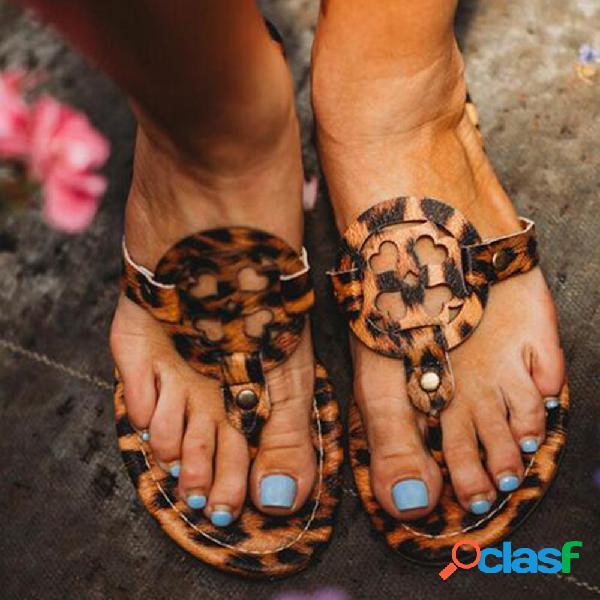 Mulheres casual coração oco flip flop leopard sandálias planas