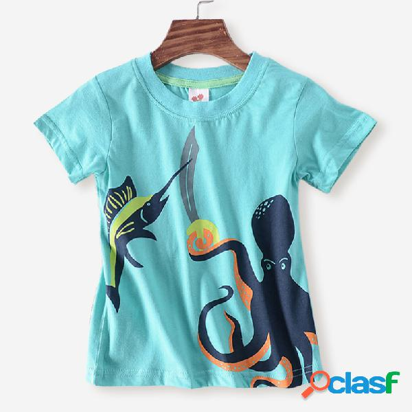 Navios de polvo do menino dos desenhos animados manga curta t-shirt casual para 3-12a