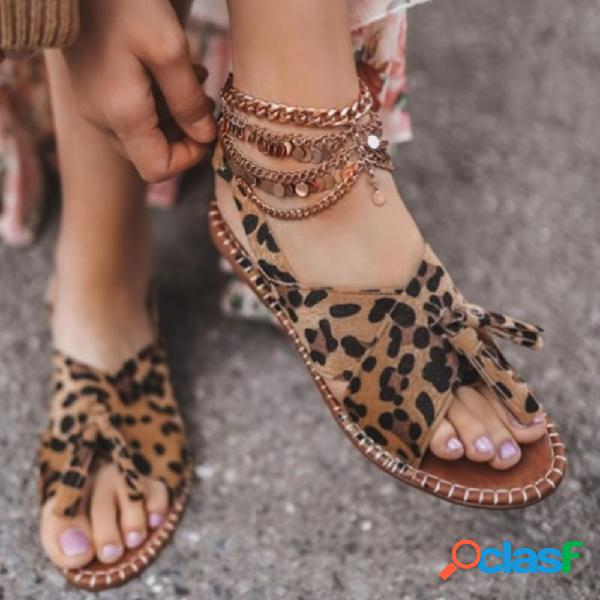Plus tamanho mulheres retro leopard peep toe tassel pés largos sandálias planas