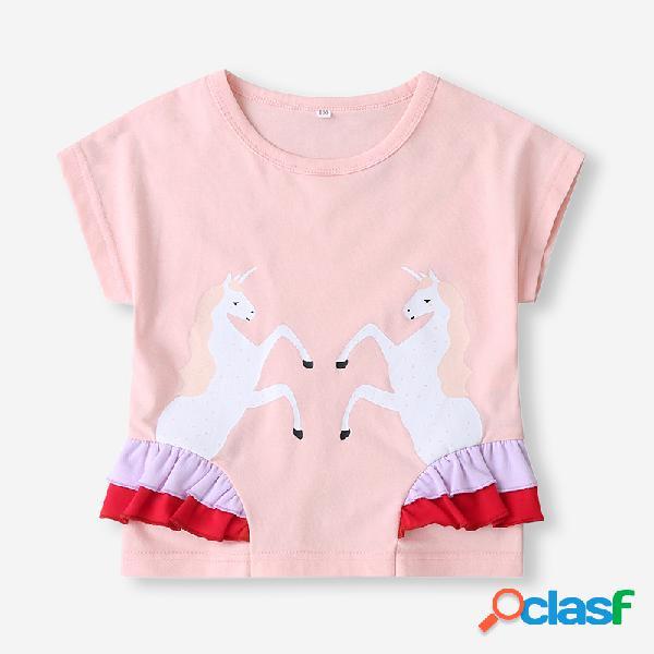 T-shirt de algodão casual de mangas curtas com estampa de unicórnio para menina de 1 a 7 anos