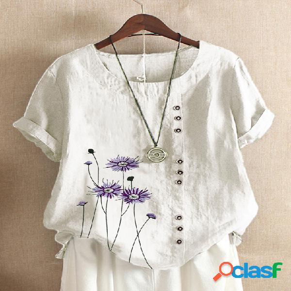 Blusa com estampa de flores com decote em o plus