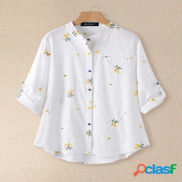 Blusa de colarinho floral bordado manga comprida para mulheres