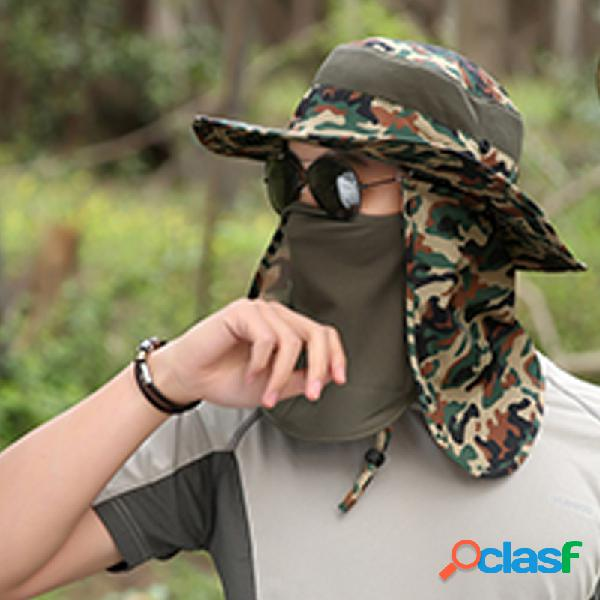 Homens de verão protetor solar ao ar livre sun chapéu camuflagem fasherman chapéu pesca anti-mosquito chapéu