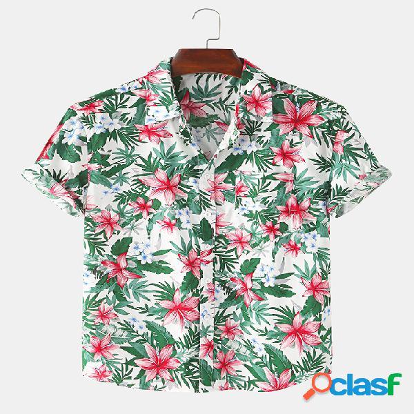 Mens étnico floral impressão casual férias luz camisas de manga curta