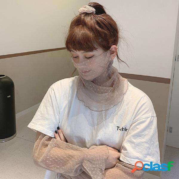 Protetor solar face máscara manga cabelo gravata de três peças alça de pescoço em chiffon orelha xale de véu