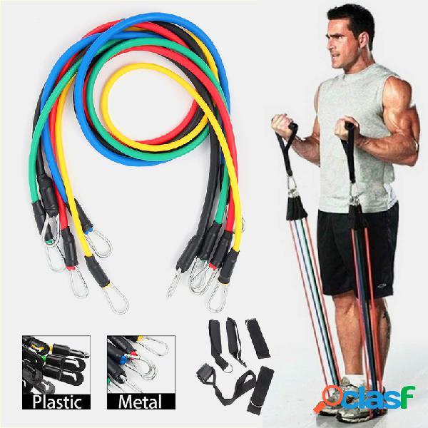 11 unidades / conjunto aptidão tubo de resistência banda yoga academia stretch pull corda expansor de treinamento de exercício