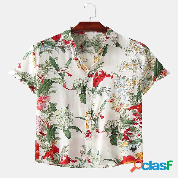 Camisas de manga curta masculina com estampa floral floral de verão