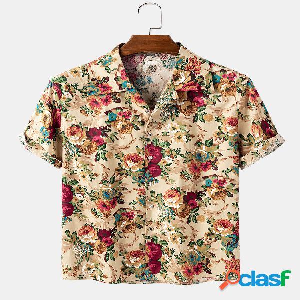 Camisas masculinas com estampa floral vintage feriado casual leve de manga curta