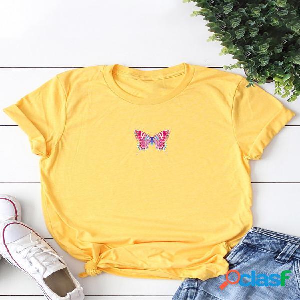 Camiseta de manga curta com estampa borboleta com decote em o para mulheres