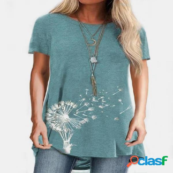 Camiseta de manga curta com estampa de flores com decote em o para mulheres