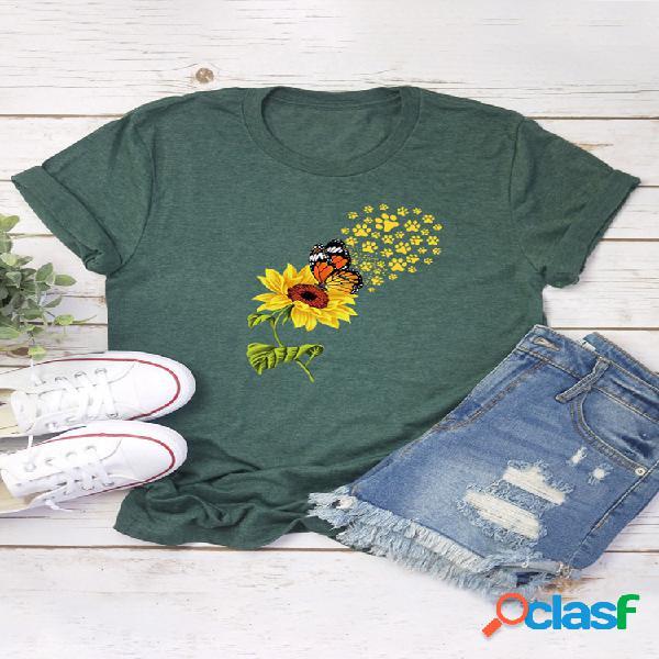 Camiseta de manga curta com estampa de flores de borboleta para mulheres