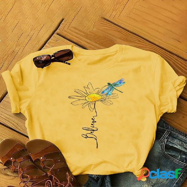 Blusa flores libélula estampa manga curta plus tamanho