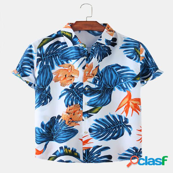 Mens floral étnico & folha print casual light fit camisas de manga curta