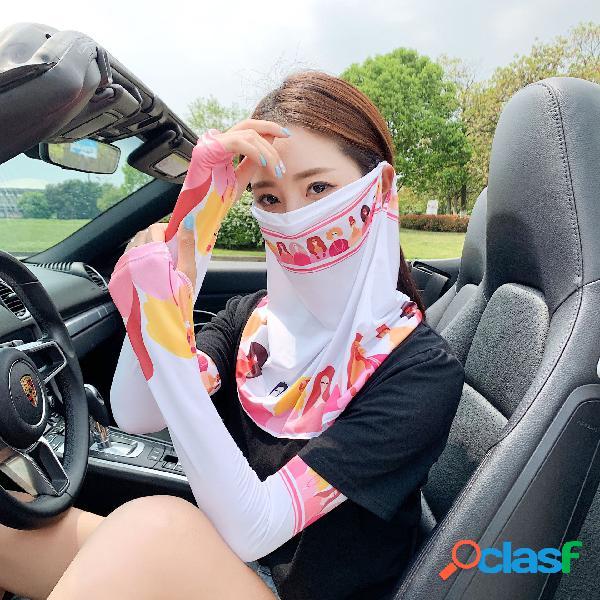 Protetor solar com manga de seda de gelo impresso máscara protetor solar com manga de gelo