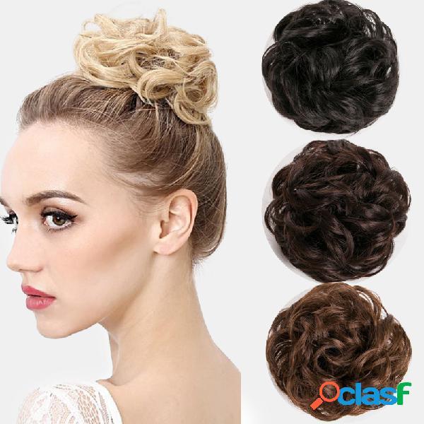 7 cores almôndegas peruca cabelo anel cabelo bolsa cabelo acessórios mate de seda de alta temperatura cabelo ferramenta de estilo de anel
