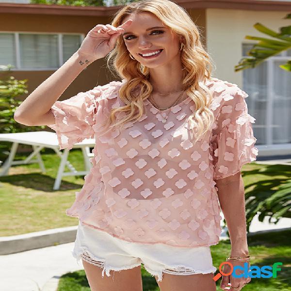 Blusa de chiffon casual para mulheres com estampa de flores 3d com decote em v