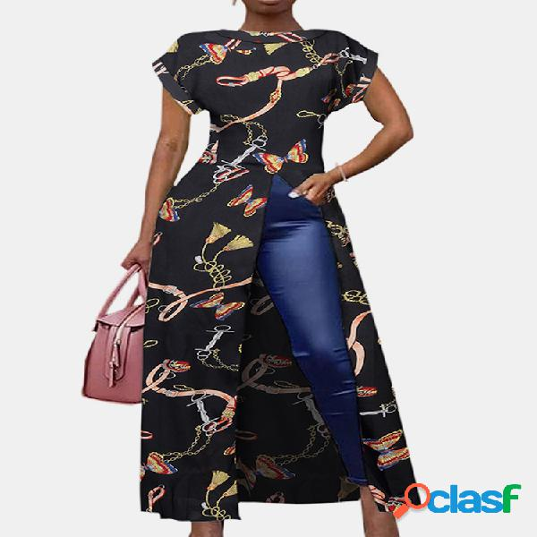 Blusa longa para mulheres com estampa borboleta dividida manga curta e decote em o
