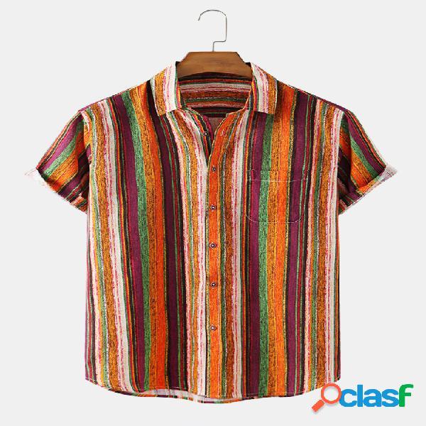 Linho de algodão masculino vintage listrado casual camisa