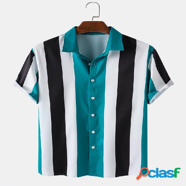 Masculino listrado praia colarinho dobrável casual camisa