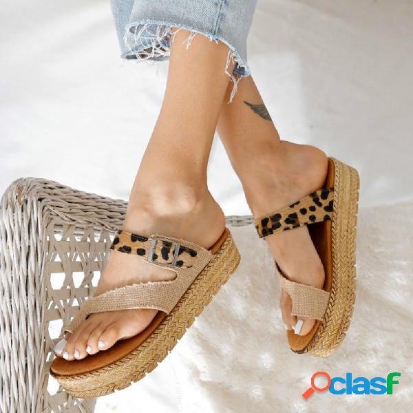 Mulheres de tamanho grande confortável leopard buckle clip toe espadrille platform chinelos