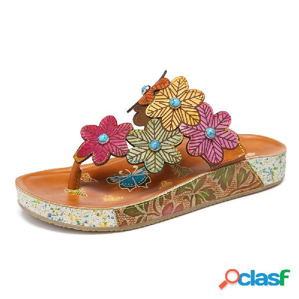 Socofy bohemia handmade couro floral gancho alça de deslizamento em tiras planas sandálias chinelos