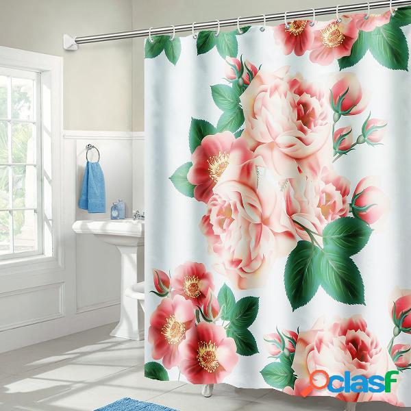 71 '' x71 '' long peach blossom padrão cortina de chuveiro impermeável de poliéster com ganchos