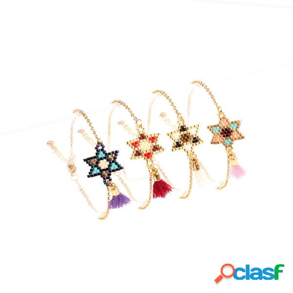 Bohemian beads bracelet geometric hand-woven hexagonal star tassel pingente pulseira de jóias chiques