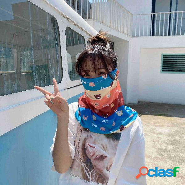 Bonito padrão véu protetor solar de seda de gelo rosto cheio capa de margarida máscara manga de gelo anti-uv pendurado orelha pescoço máscara