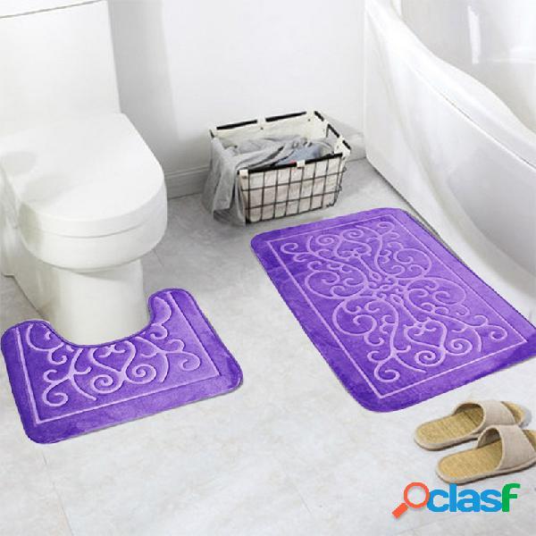 2 pcs tapetes de flanela para banheiro com tampa de banheiro soft piso de casa antiderrapante tapetes de banho banheiro conjunto de tapete