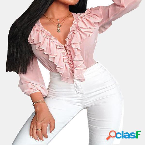 Blusa casual feminina de manga comprida com babados em cor sólida
