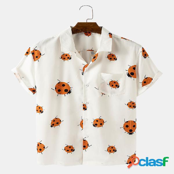 Camisas de manga curta para homens engraçados com estampa de joaninha de cor sólida