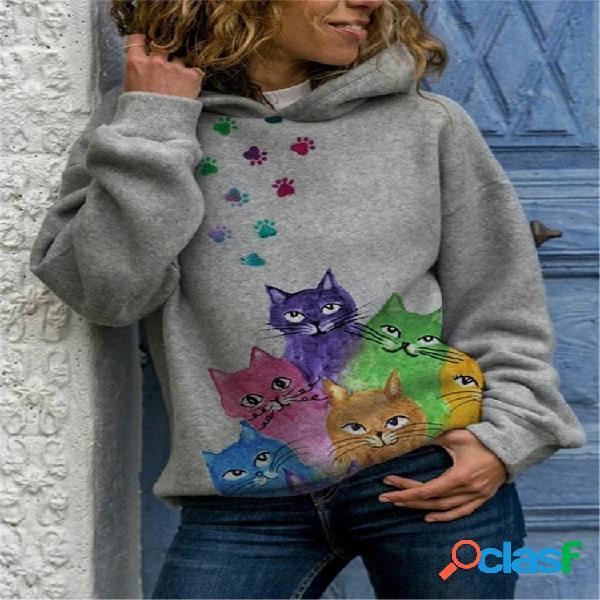 Estampa de gato multicolorida com capuz casual de manga comprida para mulheres