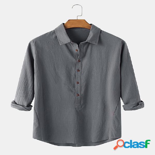 Gola de lapela masculina de algodão cor sólida casual manga comprida camisas henley