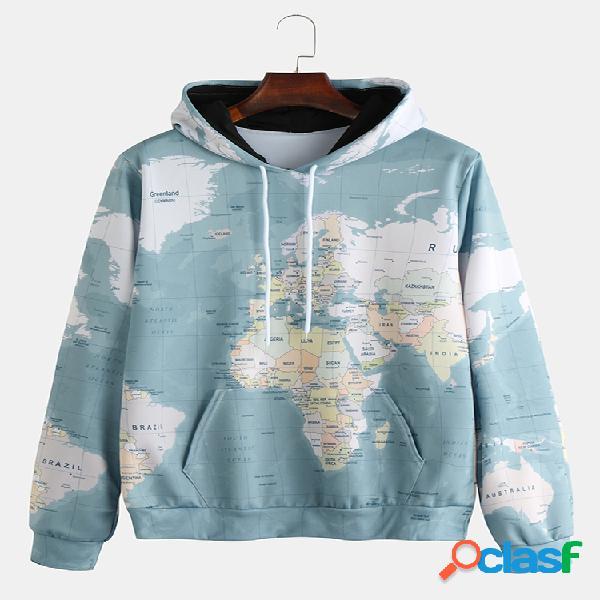 Hoodies masculinos com estampa de mapa do mundo e bolso canguru com cordão