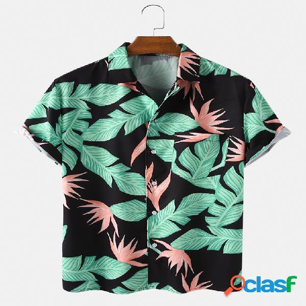 Mens respirável floral impressão floral manga curta camisas