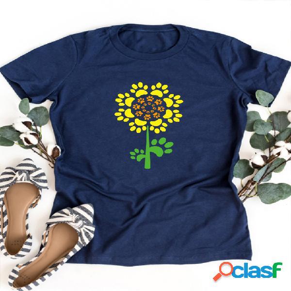 T-shirt de manga curta com estampa floral e decote em v