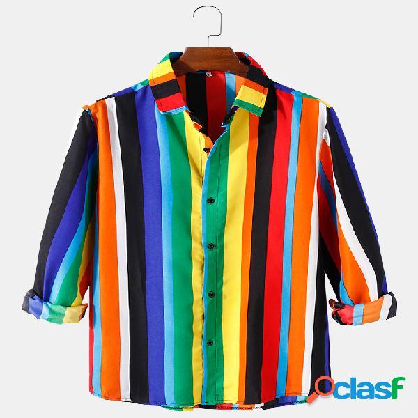 Camisa casual de manga comprida masculina de algodão com estampa de lapela com listras compridas