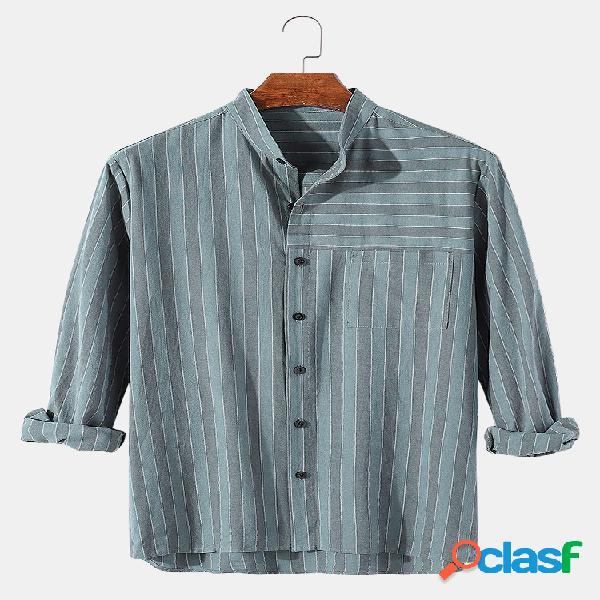 Camisa masculina 100% algodão listrada com gola casual manga longa