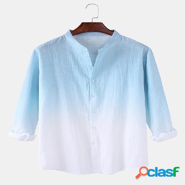 Camisas de manga comprida masculina de algodão linho ombre com gola relaxada