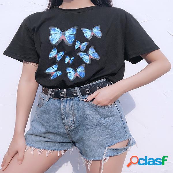 Camiseta feminina de manga curta com estampa borboleta