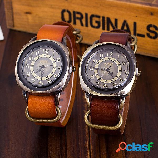Relógio vintage pulseira de couro de vaca ajustável quadrado masculino feminino relógio de quartzo