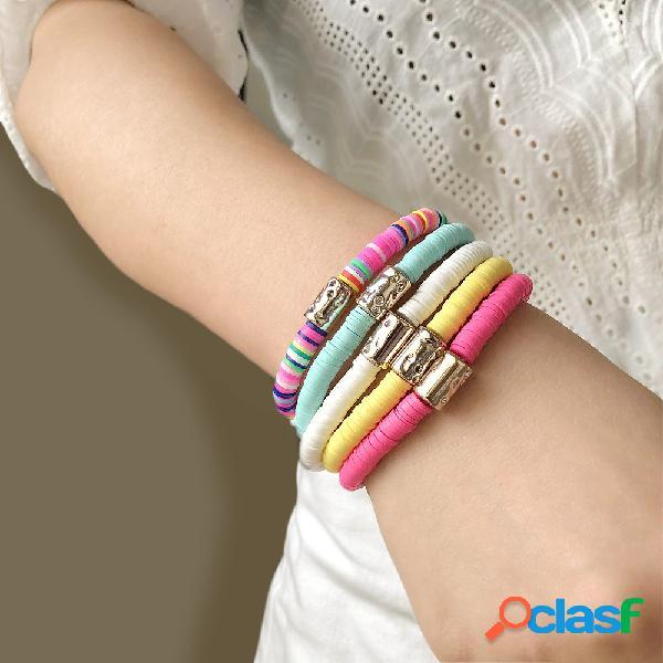 Conjunto de pulseiras de argila com 5 peças bohemian colorido mistura soft elástico corda pulseira de contas