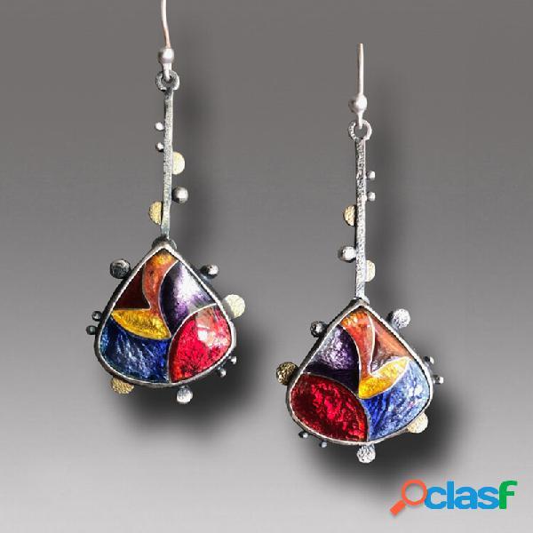 Esmalte cristalino colorido bohemian brincos em forma de gota brilhante pingente brincos
