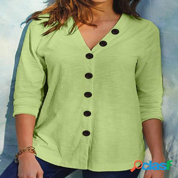 Blusa casual cor sólida buton manga comprida com decote em v para mulheres