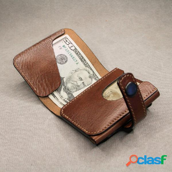 Carteira curta personalizada minimalista para dinheiro masculino