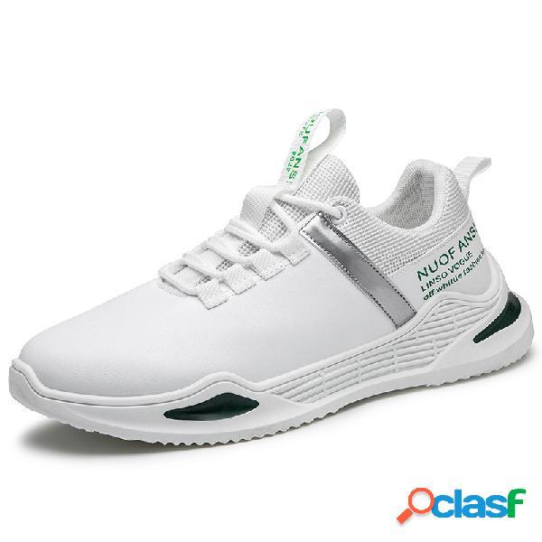 Masculino elegante esporte branco tênis respirável leve peso casual têniss
