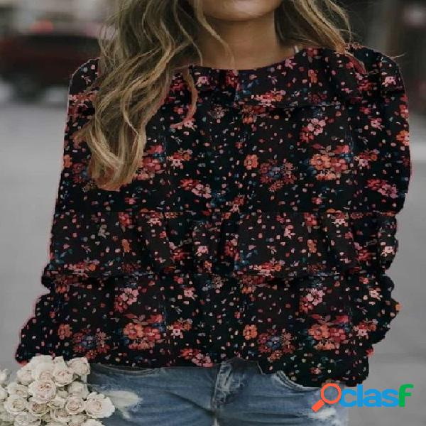 Blusa feminina com estampa floral de bolinhas com decote em O longo
