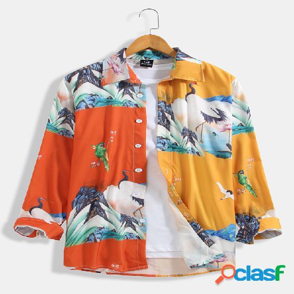 Camisa de manga comprida casual masculina com estampa de lapela colorida paisagem colorida