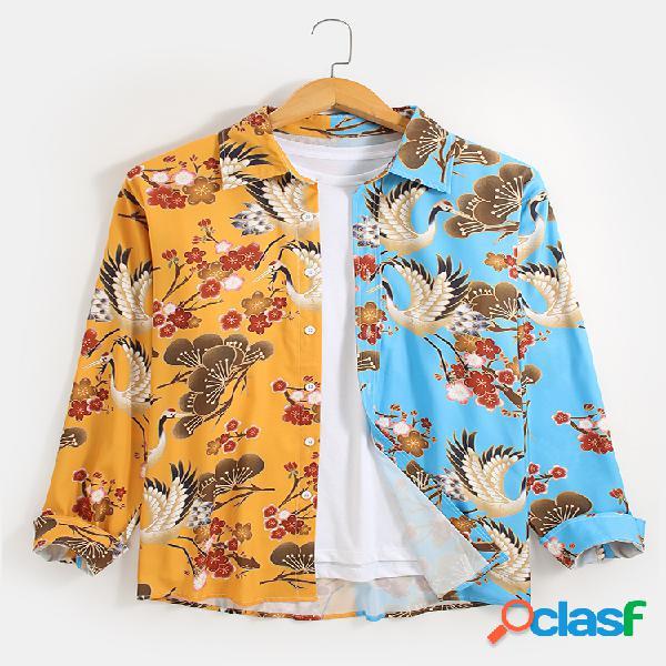 Camisas de manga comprida masculina floral estampa de contraste patchwork estilo nacional