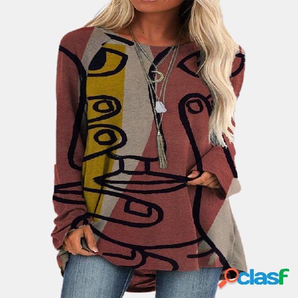 Camiseta estampada vintage de manga comprida com decote em o assimétrico para mulheres